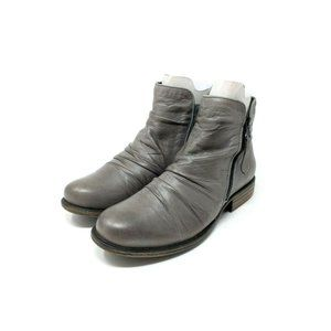 Miz Mooz Grey Leather Ruched Side Zip Ankle Boots